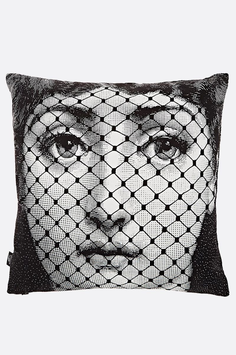 FORNASETTI: Burlesque canvas cushion Color White_1