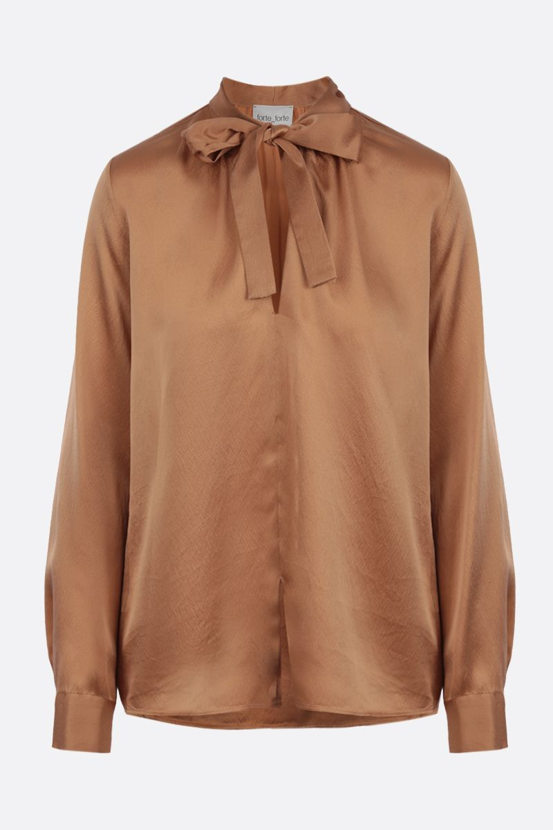 FORTE FORTE: bow-detailed silk blouse Color Brown_1