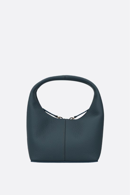 FRENZLAUER: Panier mini grainy leather handbag Color Blue_1