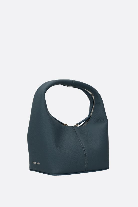 FRENZLAUER: Panier mini grainy leather handbag Color Blue_2