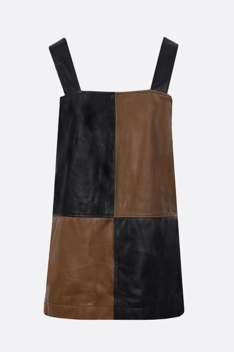 GANNI: colour-block nappa short dress Color Black_1