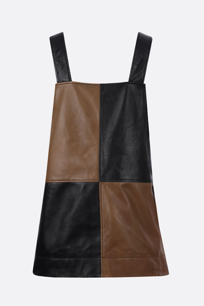GANNI: colour-block nappa short dress Color Black_2