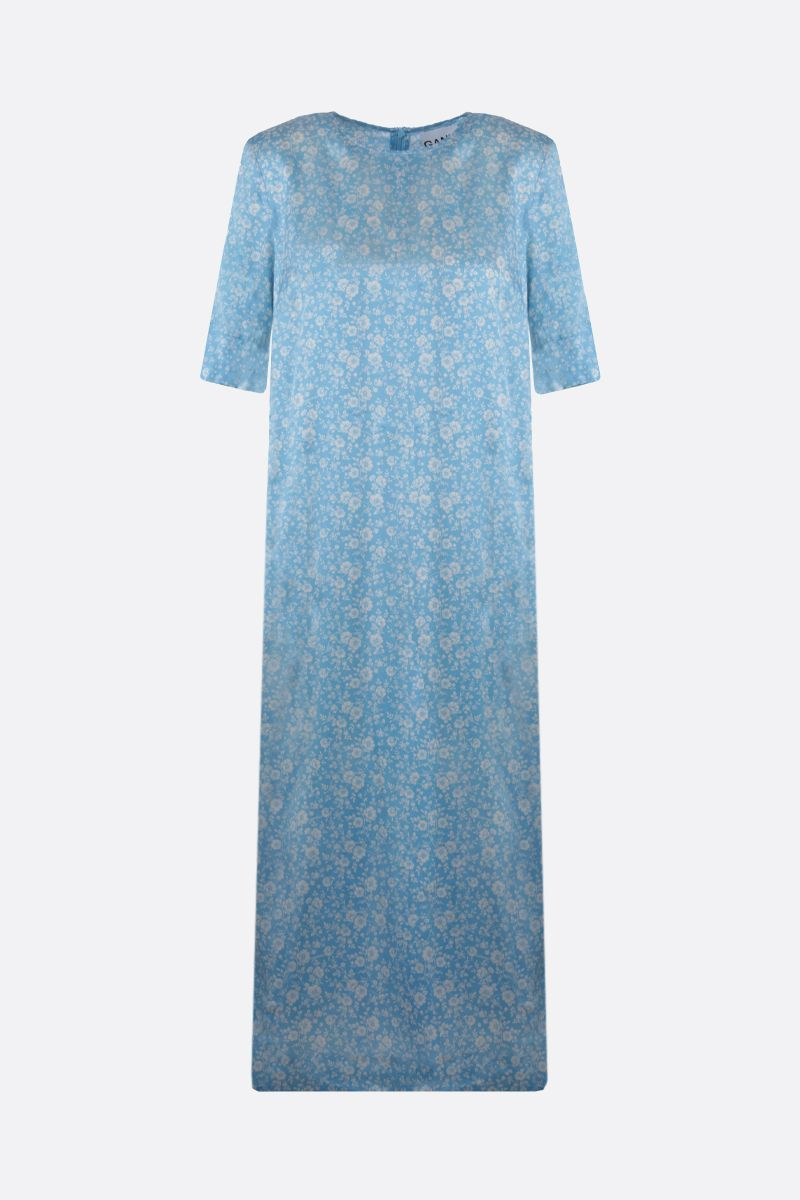 GANNI: floral print stretch silk midi dress Color Blue_1