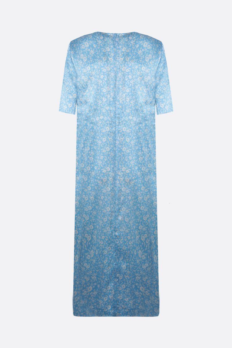 GANNI: floral print stretch silk midi dress Color Blue_2