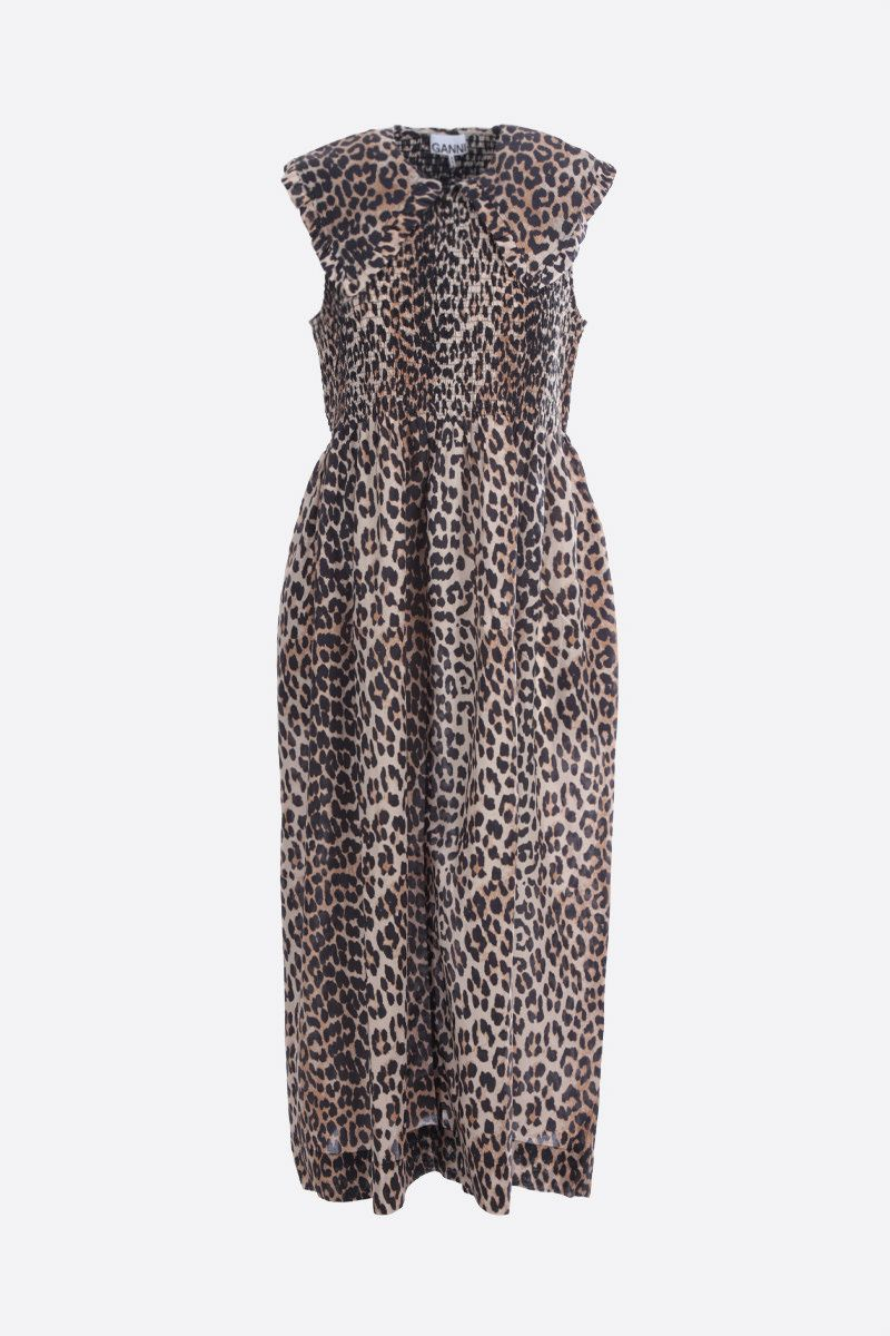 GANNI: leopard print cotton silk blend sleeveless dress Color Animalier_1