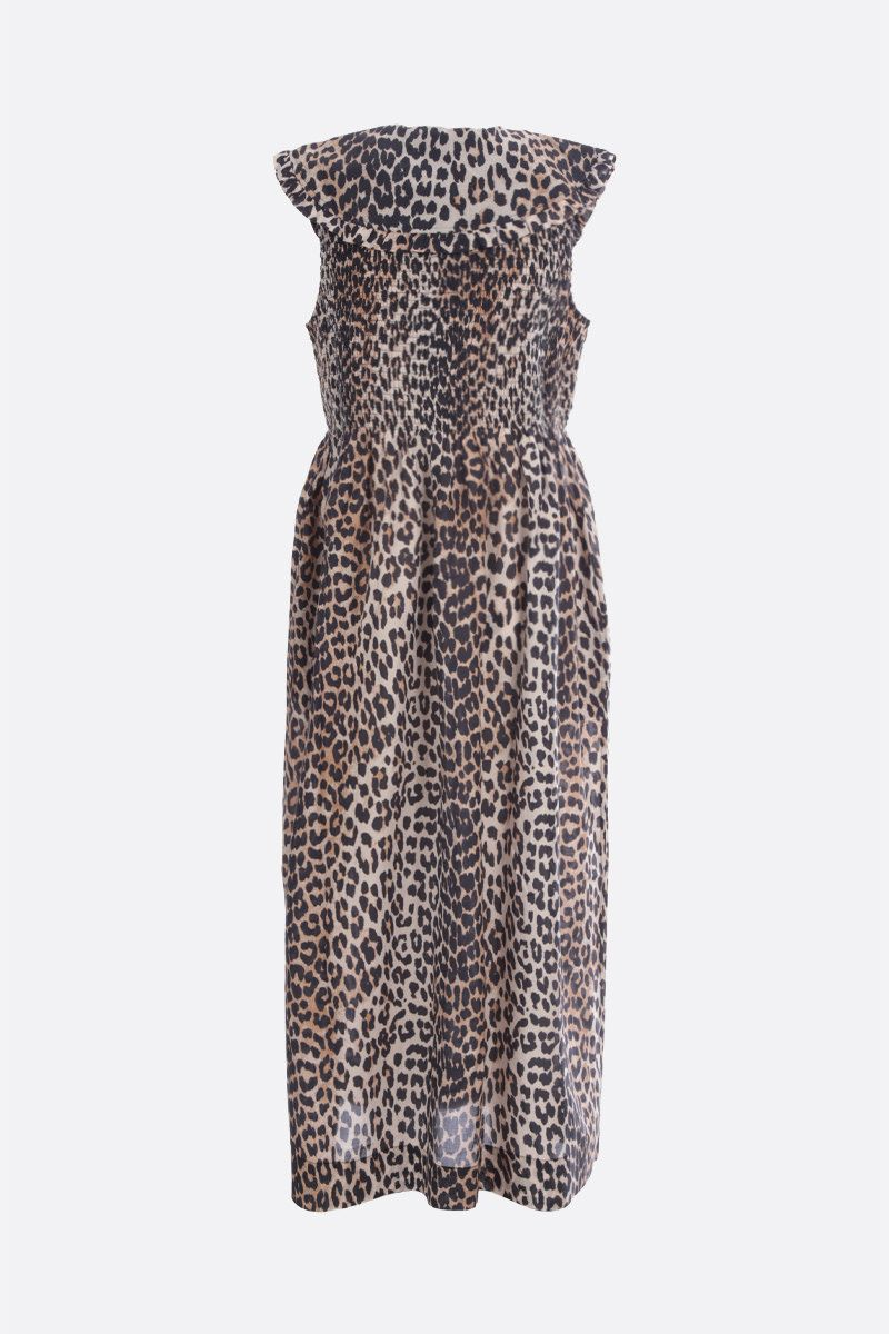 GANNI: leopard print cotton silk blend sleeveless dress Color Animalier_2