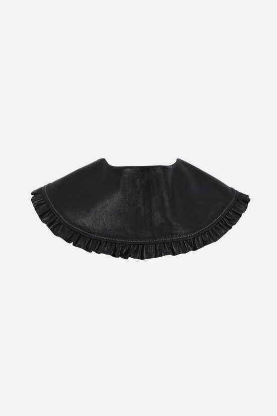 GANNI: frilled leather collar Color Black_1