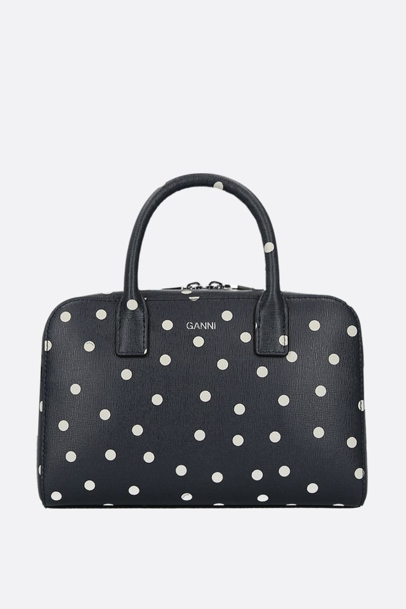 GANNI: polka-dot textured leather handbag Color Blue_1