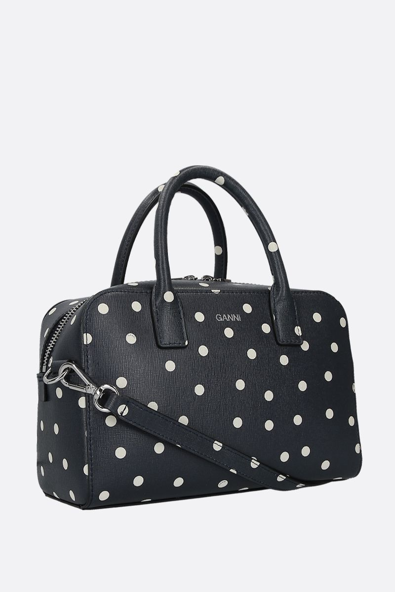 GANNI: polka-dot textured leather handbag Color Blue_2