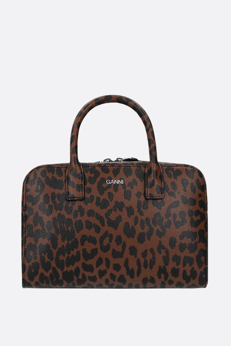 GANNI: leopard print textured leather handbag Color Brown_1