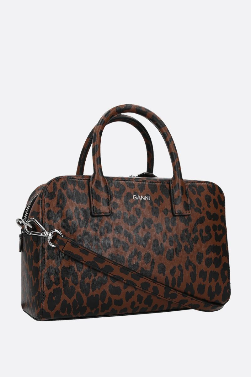 GANNI: leopard print textured leather handbag Color Brown_2