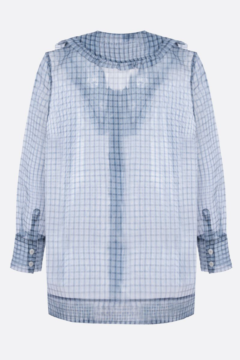 GANNI: check organdy shirt Color Blue_2