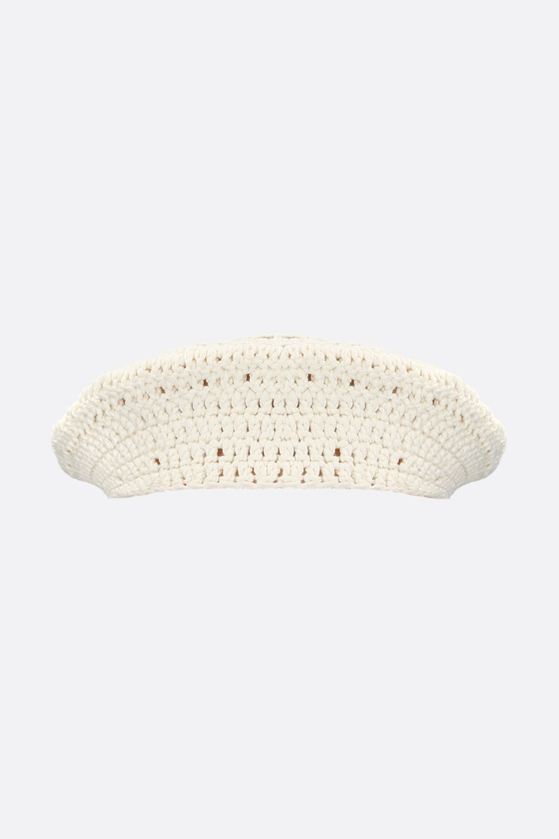 GANNI: cotton knit beret Color White_1