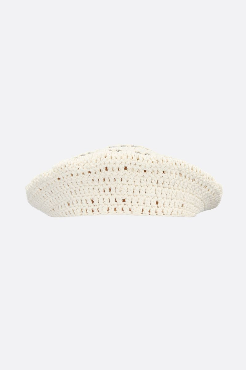 GANNI: cotton knit beret Color White_2
