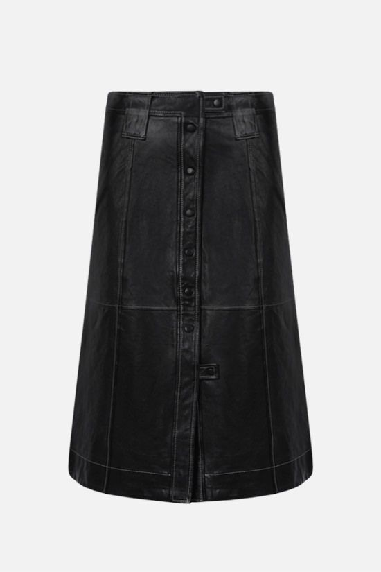 GANNI: A-line nappa leather skirt Color Black_1