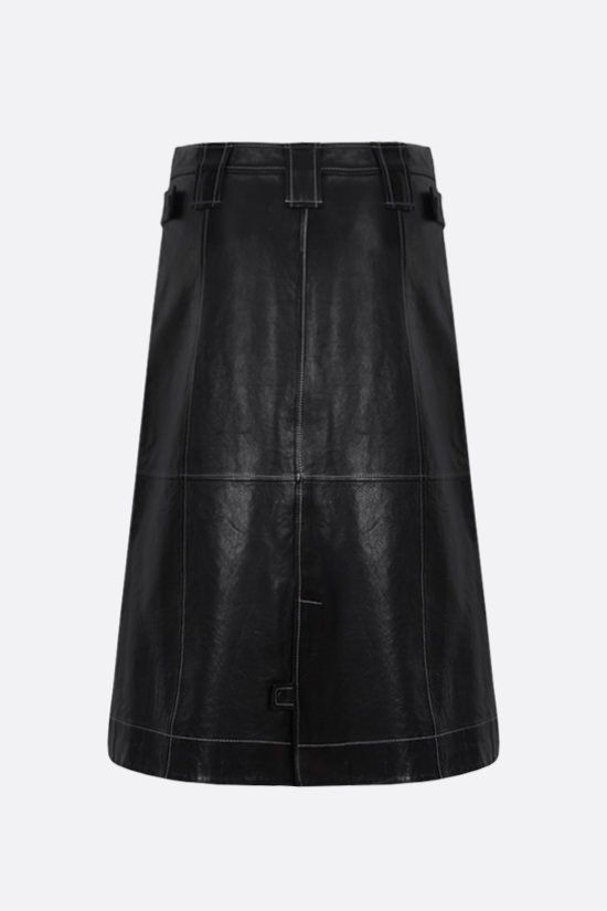 GANNI: A-line nappa leather skirt Color Black_2
