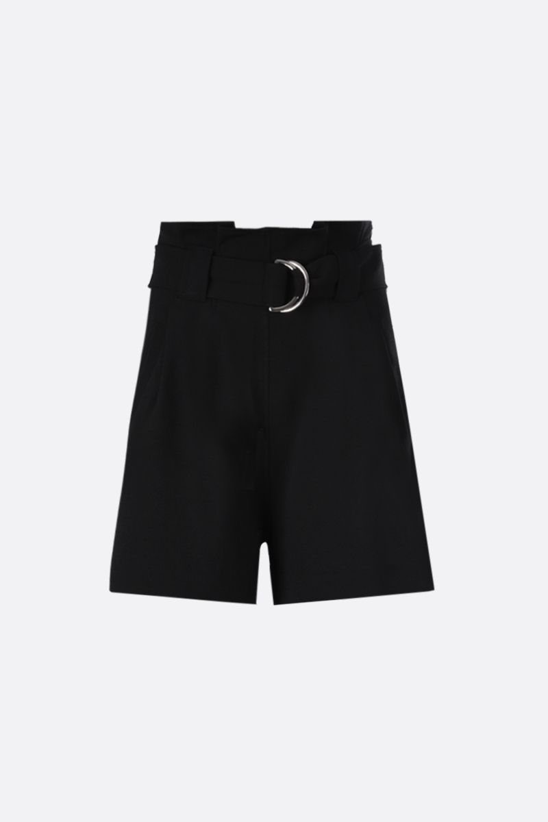 GANNI: crepe darted shorts Color Black_1