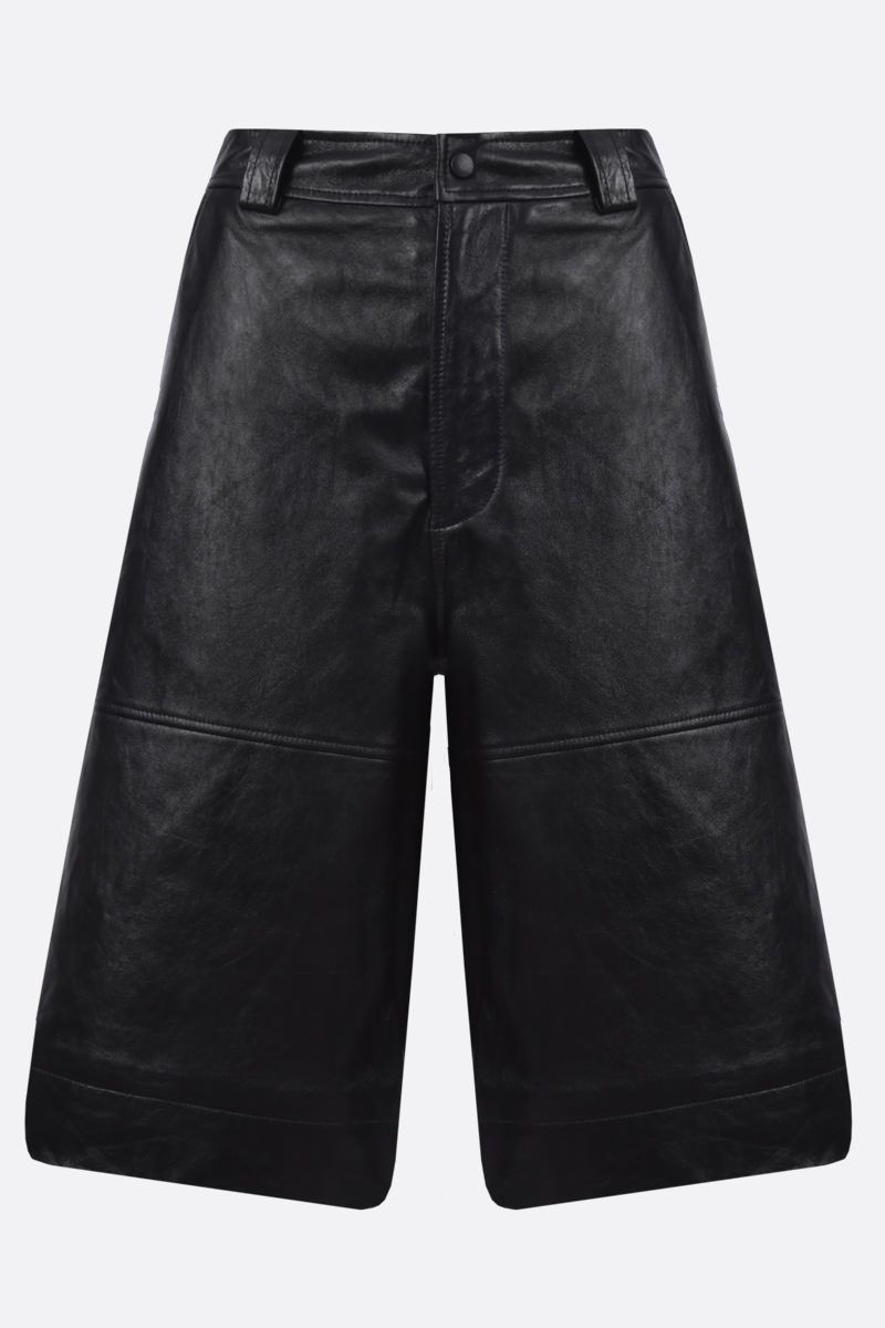 GANNI: nappa wide-leg shorts Color Black_1