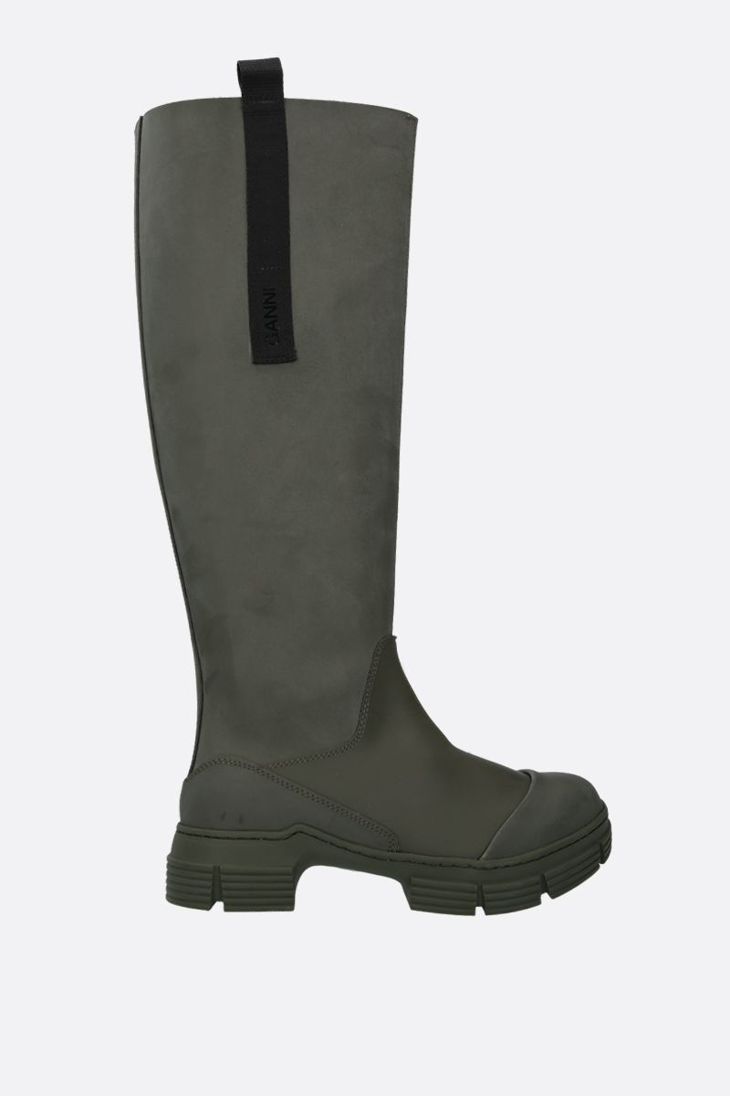 GANNI: logo-detailed recycled rubber boots Color Green_1