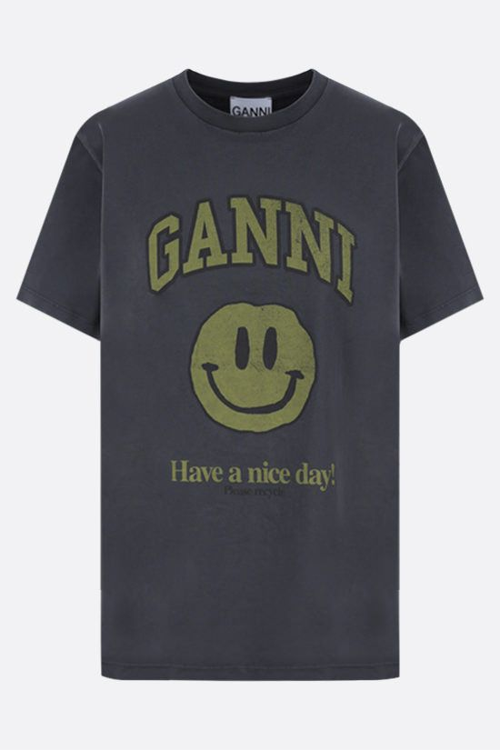 GANNI: Smiley print cotton t-shirt Color Black_1