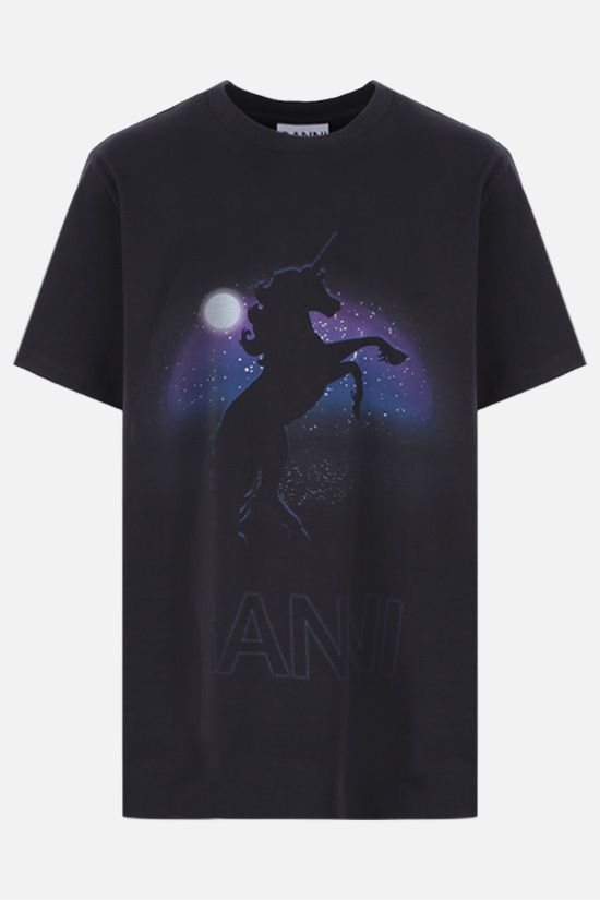 GANNI: Unicorn print cotton t-shirt Color Black_1