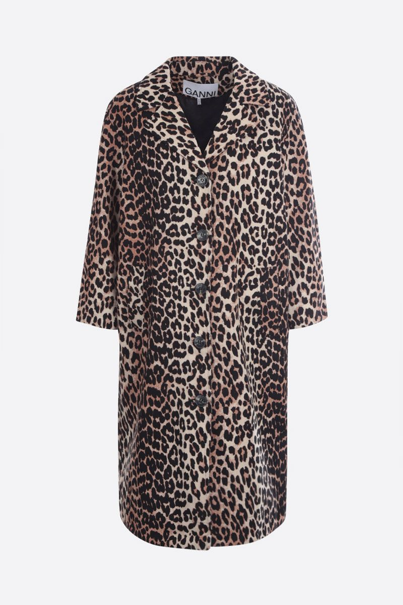 GANNI: leopard print canvas single-breasted overcoat Color Animalier_1