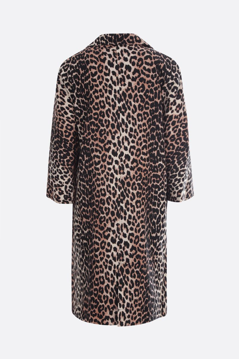 GANNI: leopard print canvas single-breasted overcoat Color Animalier_2