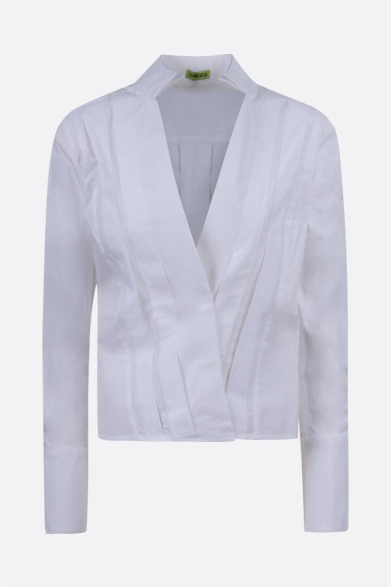 GAUGE81: Crete poplin pleated shirt Color White_1