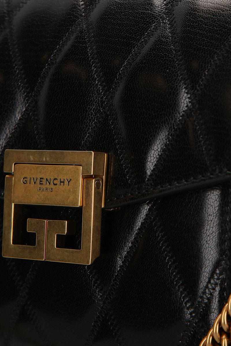 GIVENCHY: GV3 small quilted leather shoulder bag Color Black_4