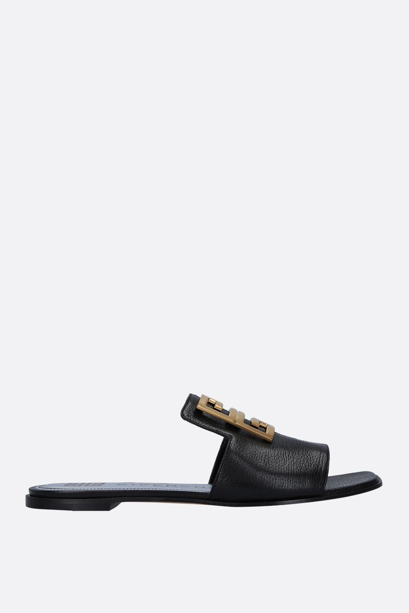GIVENCHY: 4G grainy leather flat sandals Color Black_1