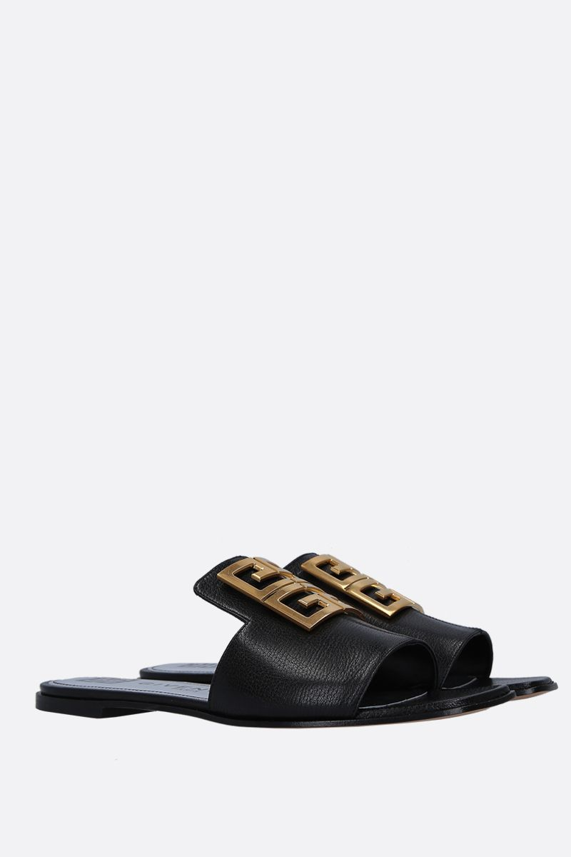 GIVENCHY: 4G grainy leather flat sandals Color Black_2