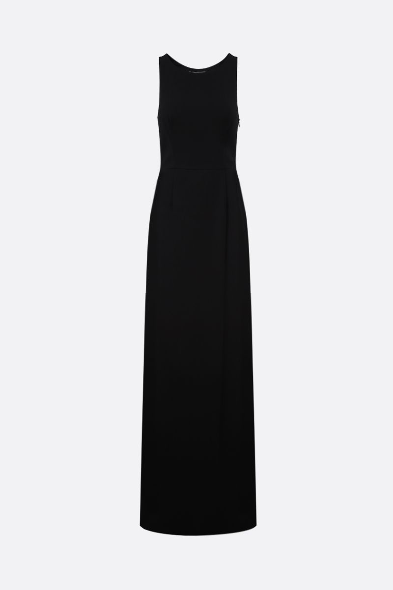 GIVENCHY: graphic neckline-detailed crepe long dress Color Black_1
