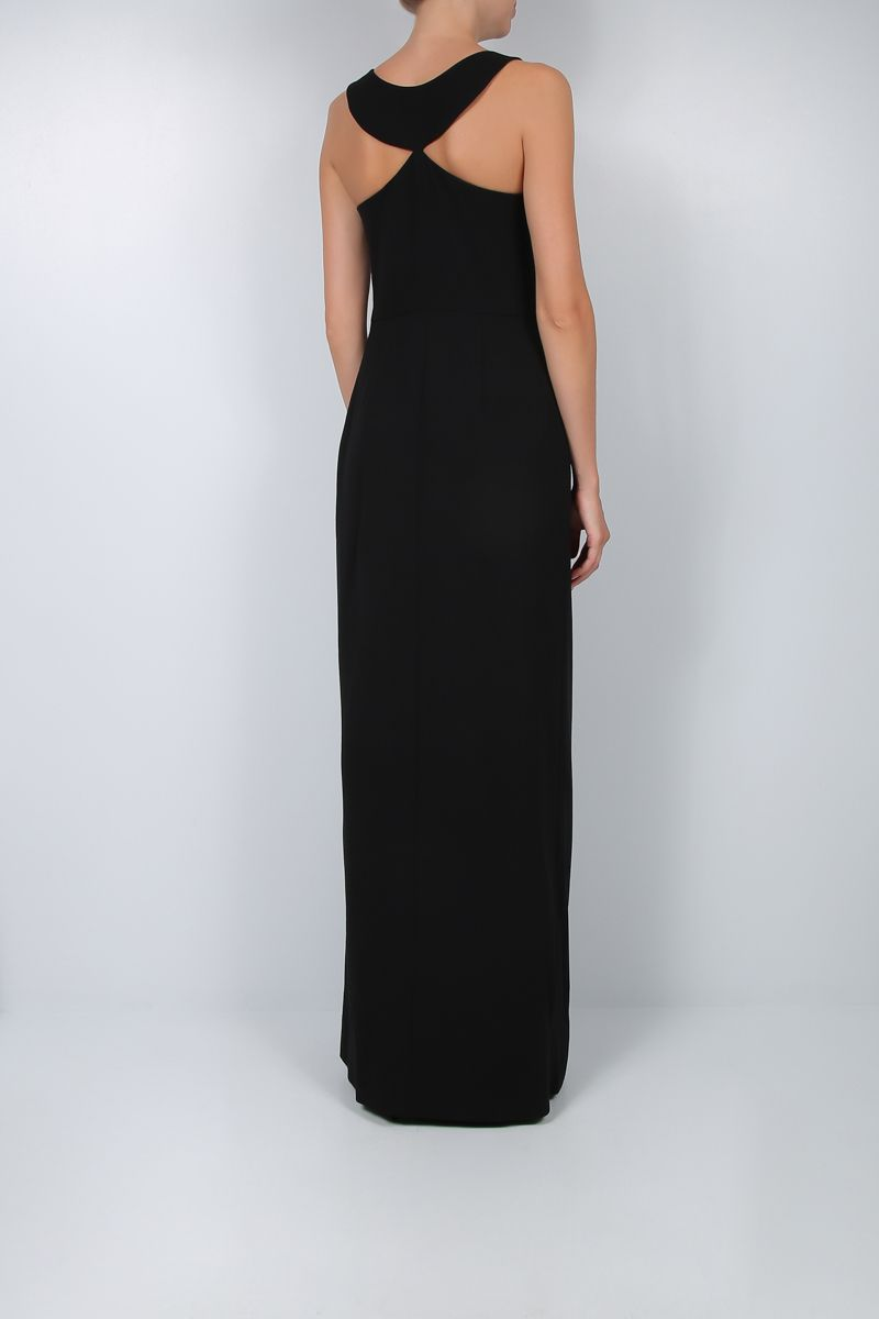 GIVENCHY: graphic neckline-detailed crepe long dress Color Black_2