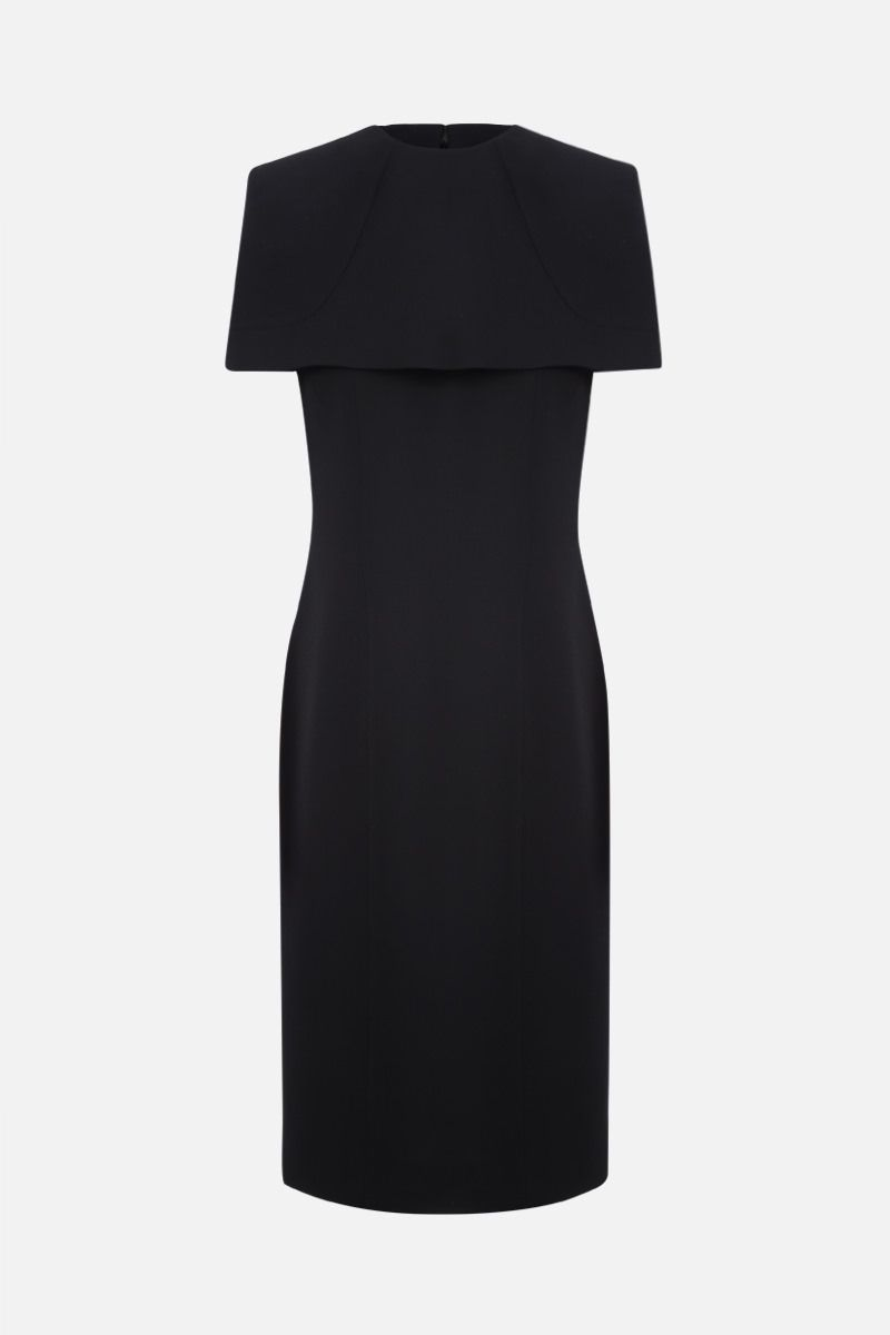 GIVENCHY: cape-detailed crepe pencil dress Color Black_1