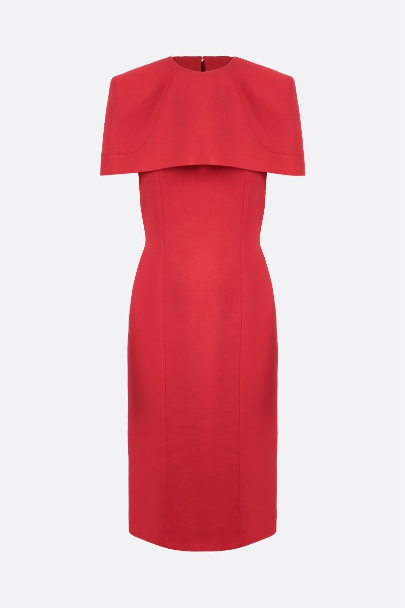 GIVENCHY: cape-detailed crepe pencil dress Color Red_1