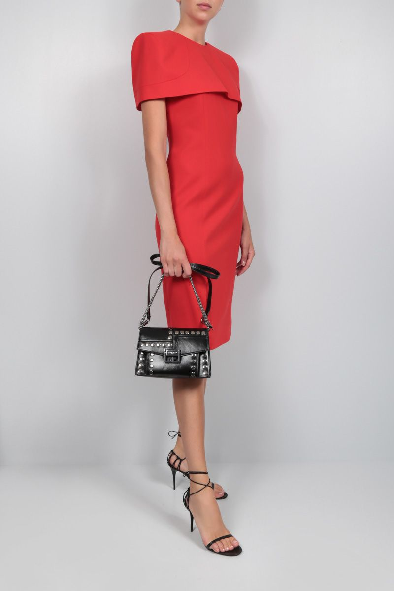GIVENCHY: cape-detailed crepe pencil dress Color Red_2