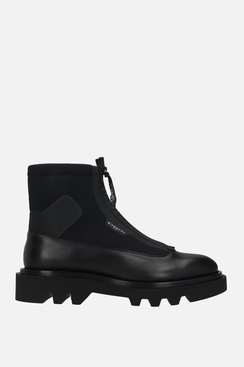 GIVENCHY: smooth leather and neoprene combat boots Color Black_1