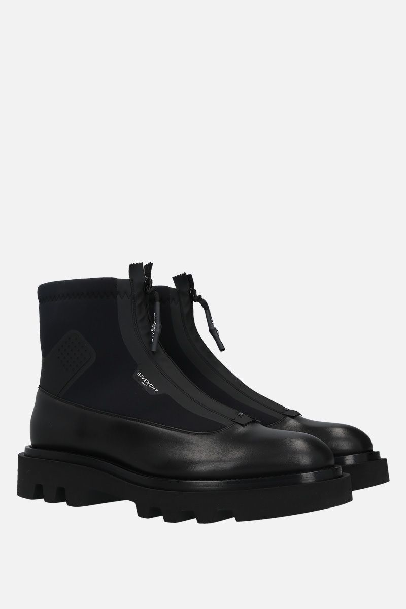 GIVENCHY: smooth leather and neoprene combat boots Color Black_2