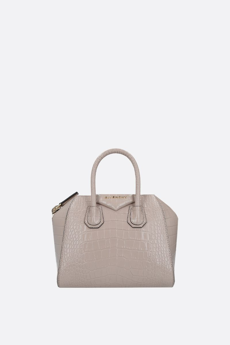GIVENCHY: Antigona mini crocodile embossed leather handbag Color Neutral_1