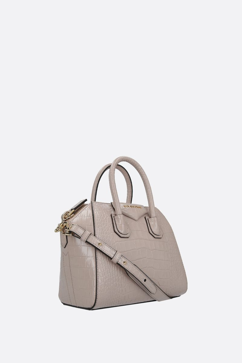 GIVENCHY: Antigona mini crocodile embossed leather handbag Color Neutral_2