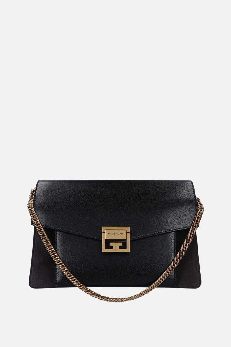 GIVENCHY: GV3 small grainy leather and suede handbag Color Black_1