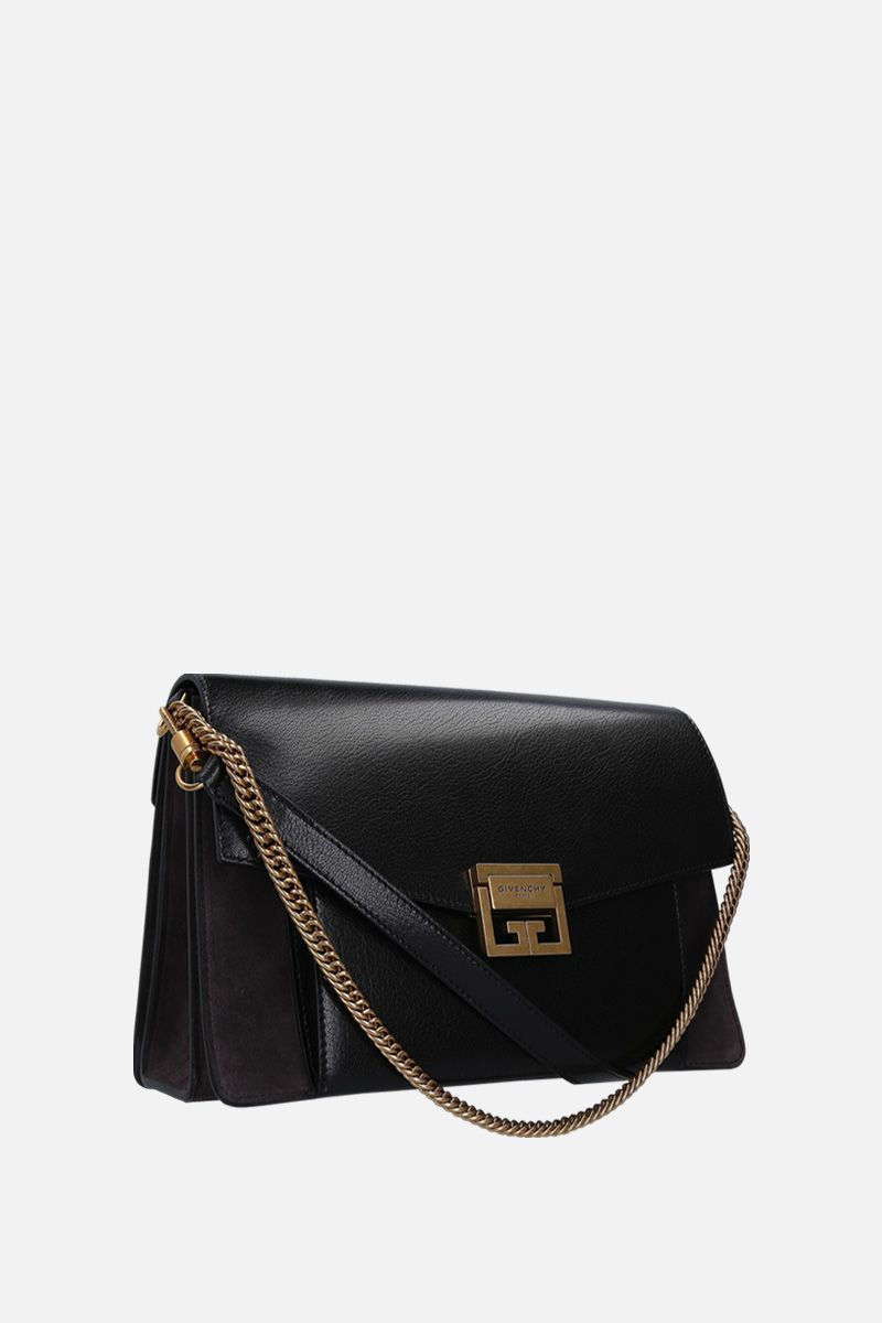 GIVENCHY: GV3 small grainy leather and suede handbag Color Black_2