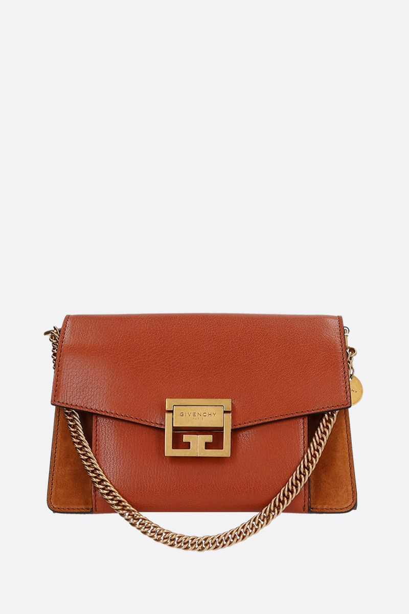 GIVENCHY: GV3 small grainy leather and suede handbag Color Brown_1