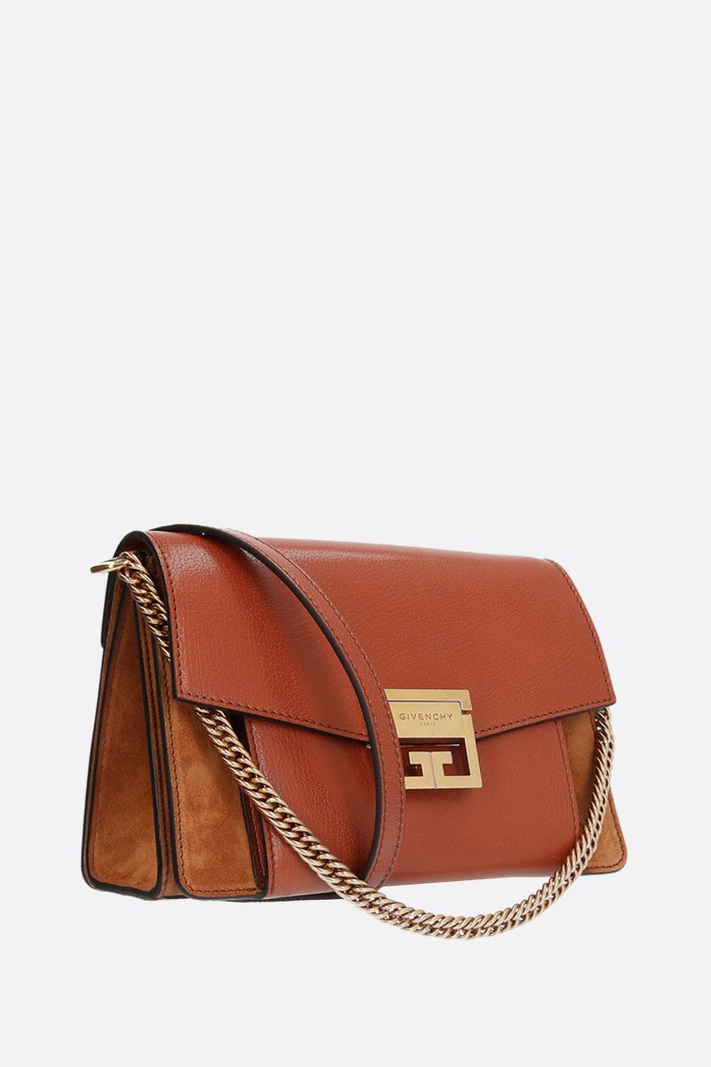 GIVENCHY: GV3 small grainy leather and suede handbag Color Brown_2