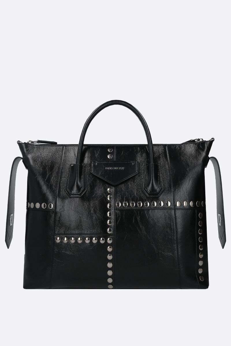 GIVENCHY: Antigona Soft medium handbag in studded Vintage leather Color Black_1