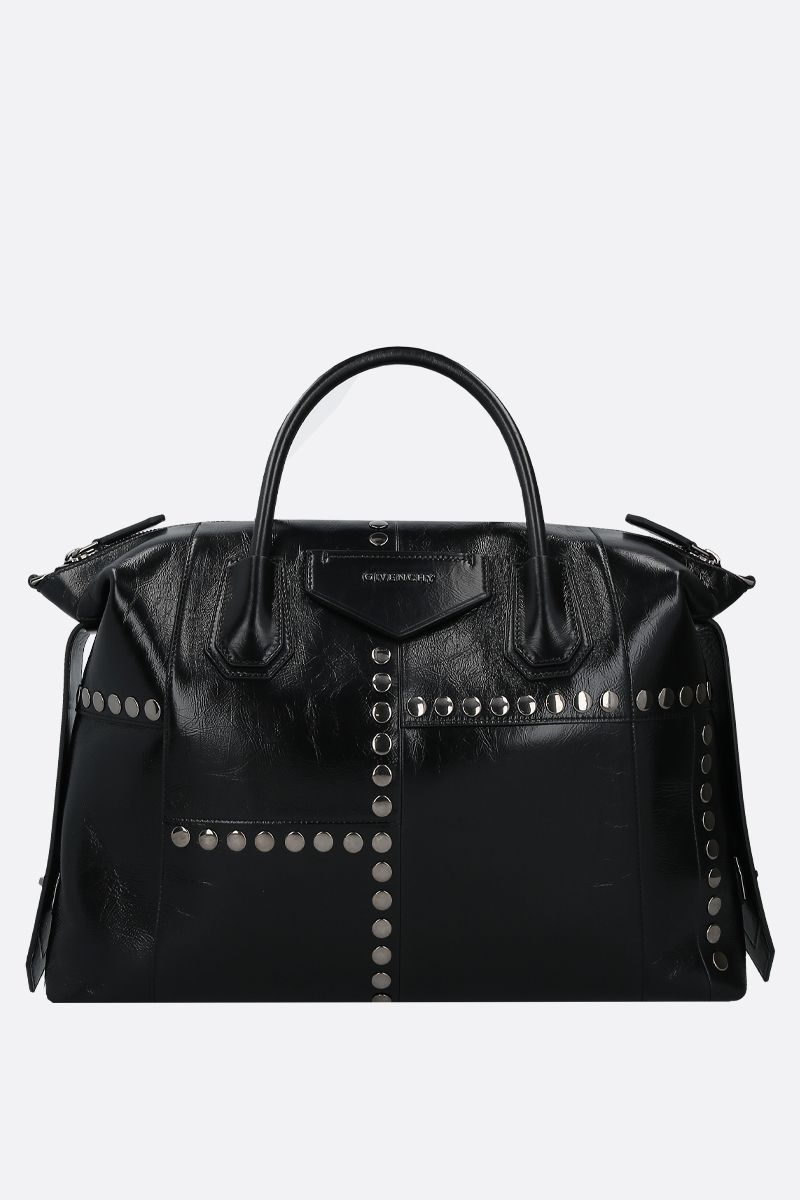 GIVENCHY: Antigona Soft medium handbag in studded Vintage leather Color Black_2