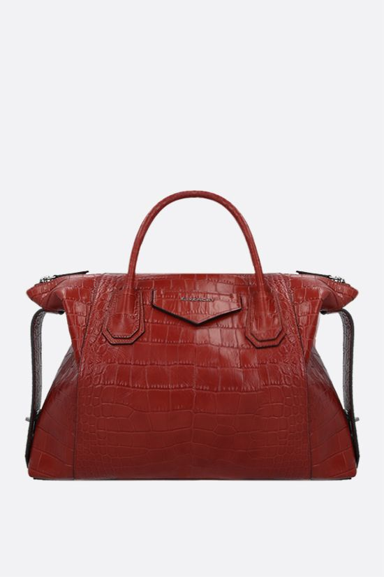 GIVENCHY: Antigona Soft medium crocodile embossed leather handbag Color Red_1