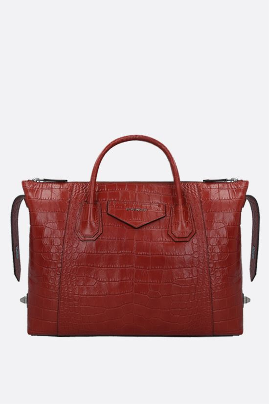GIVENCHY: Antigona Soft medium crocodile embossed leather handbag Color Red_2