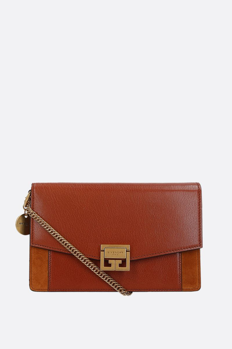 GIVENCHY: GV3 smooth leather and suede chain wallet Color Brown_1
