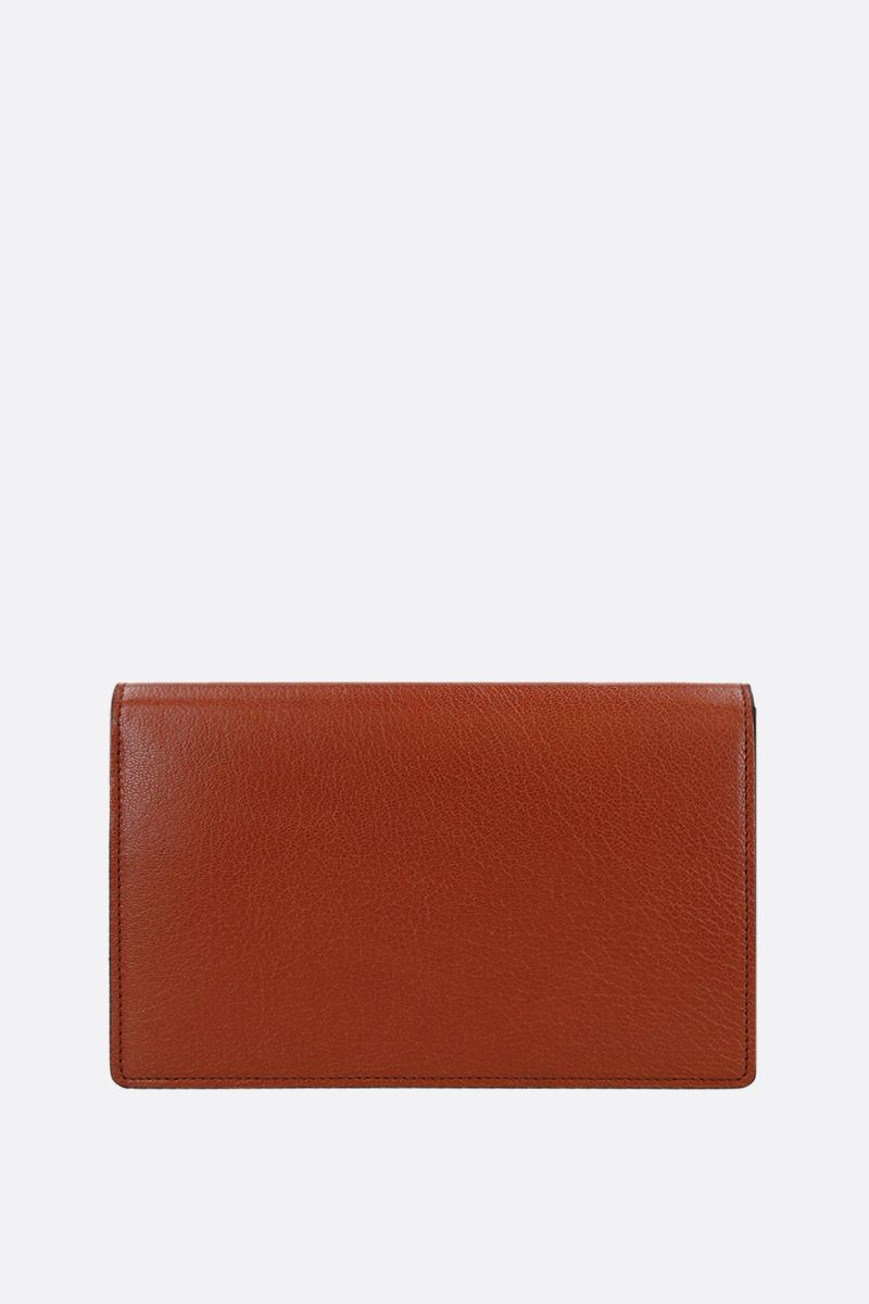 GIVENCHY: GV3 smooth leather and suede chain wallet Color Brown_3